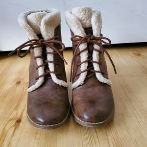 Brown Booties with Fur Trim